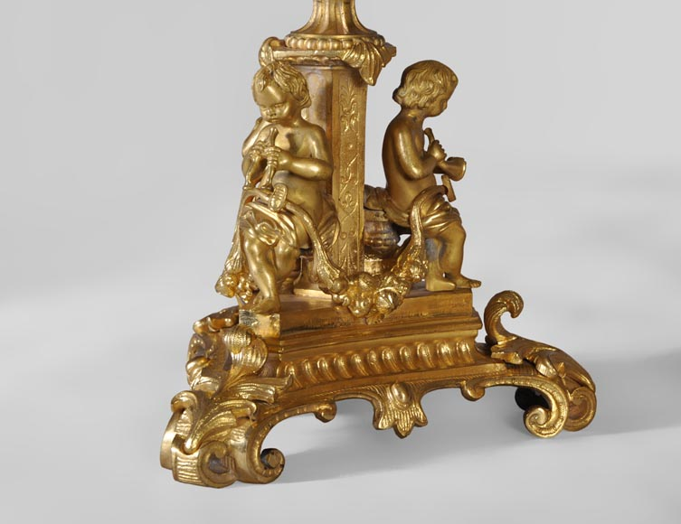 Gilt bronze 19th-century Romantic clock set with the Four Seasons-7