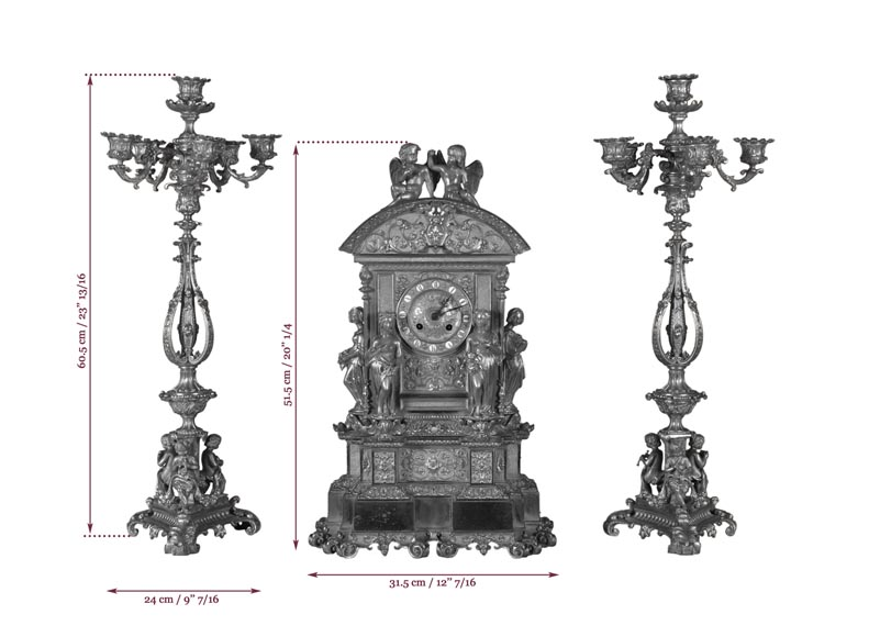 Gilt bronze 19th-century Romantic clock set with the Four Seasons-11