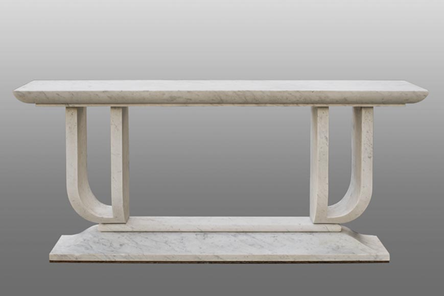 Exceptional Art Deco console table in Carrara marble for the Toubiana Hotel built by Charles ADDA, circa 1930 - Reference 10752