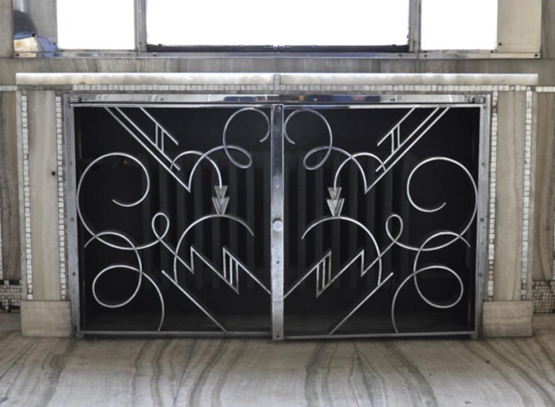 Marcel BERGUE (Artistic ironworker) - Art Deco radiator cover, circa 1930 - Reference 10753