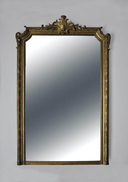 Antique Regence style overmantel mirror in gilded wood and stucco, 19th century - Reference 10754