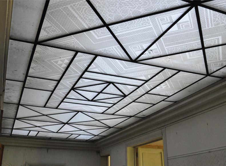 Rare Art Deco ceiling in engraved glass, 1930s - Reference 10758