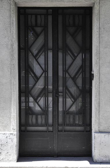 Rare Art Deco exterior door, 1930's, iron and engraved glass with flowers decor - Reference 10761