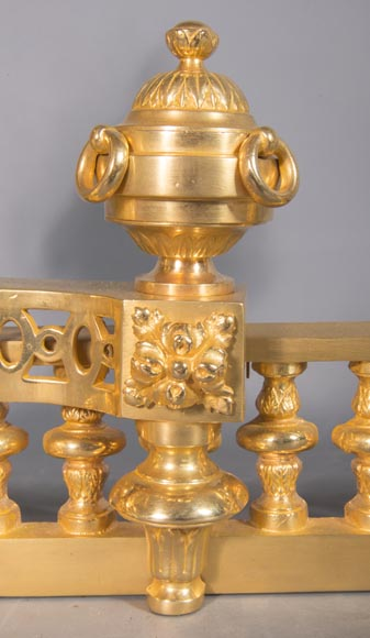 Louis XVI style chenet bar, in gilded bronze-3