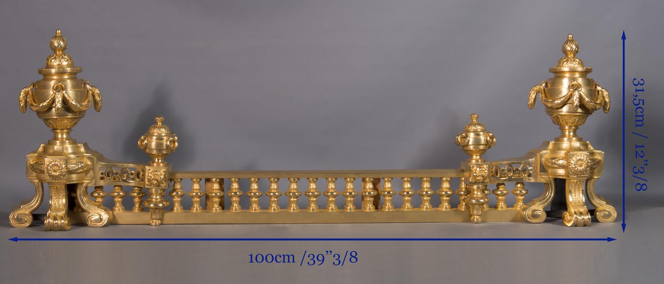 Louis XVI style chenet bar, in gilded bronze-6