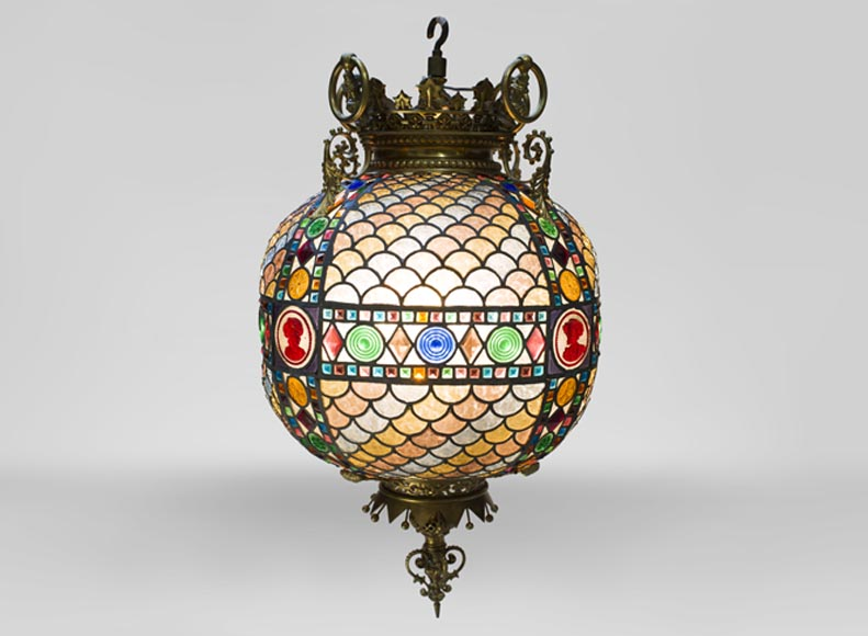 Beautiful antique Neo-Gothic style spherical chandelier in stained glass, late 19th century-0