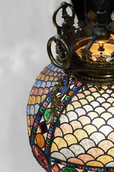 Beautiful antique Neo-Gothic style spherical chandelier in stained glass, late 19th century-5