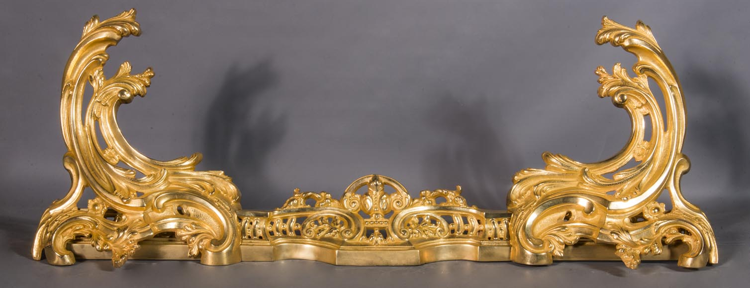 Louis XV style chenets bar, in gilded bronze-0