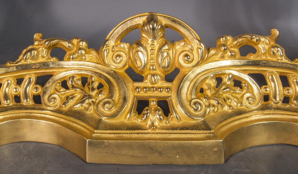 Louis XV style chenets bar, in gilded bronze-2
