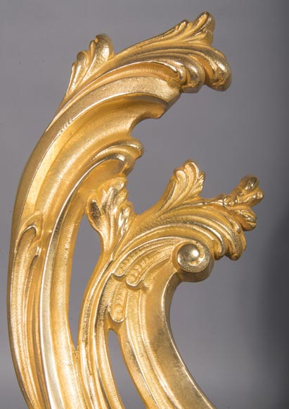 Louis XV style chenets bar, in gilded bronze-4