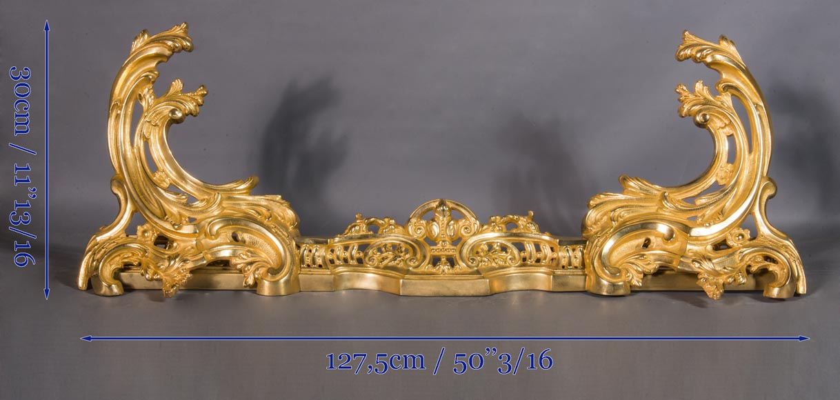 Louis XV style chenets bar, in gilded bronze-7