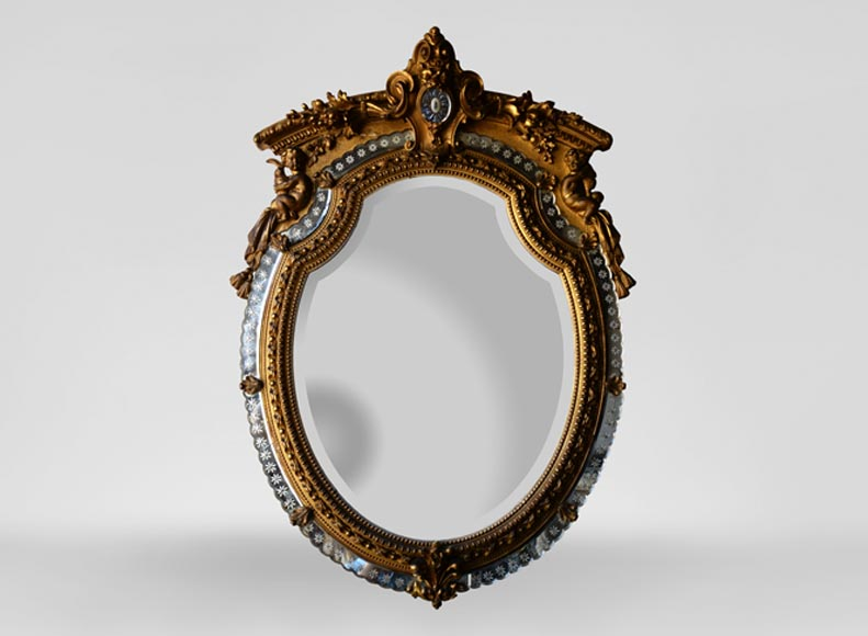 Beautiful antique Napoleon III style mirror with partitions and putti decor - Reference 10777