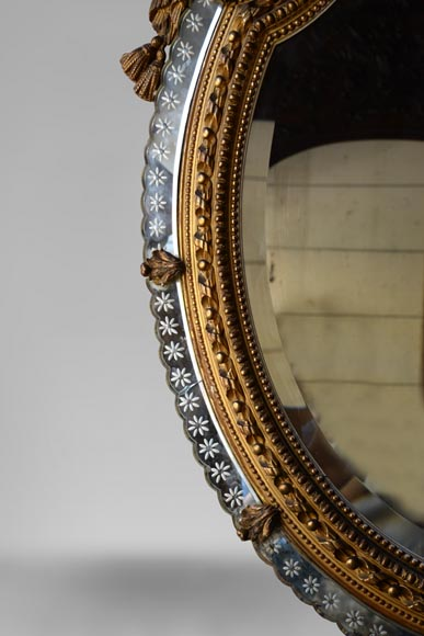 Beautiful antique Napoleon III style mirror with partitions and putti decor-4