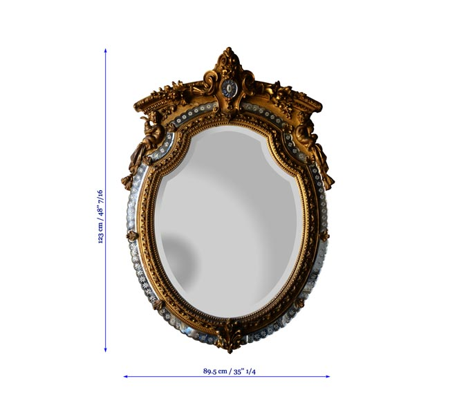 Beautiful antique Napoleon III style mirror with partitions and putti decor-5