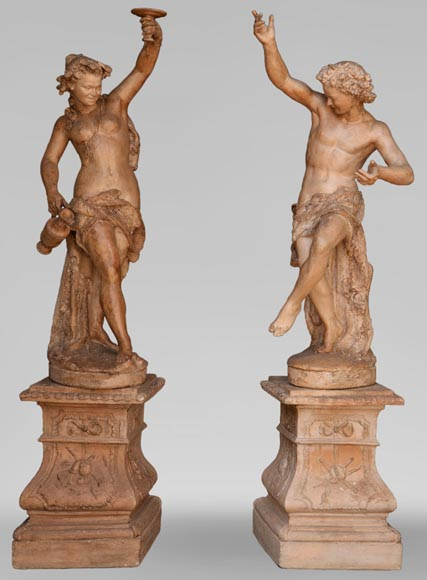 """Bacchante and Bacchant"", exceptional pair of terracotta statues, circle of Jean-Baptiste Carpeaux, circa 1880 - Reference 10778"