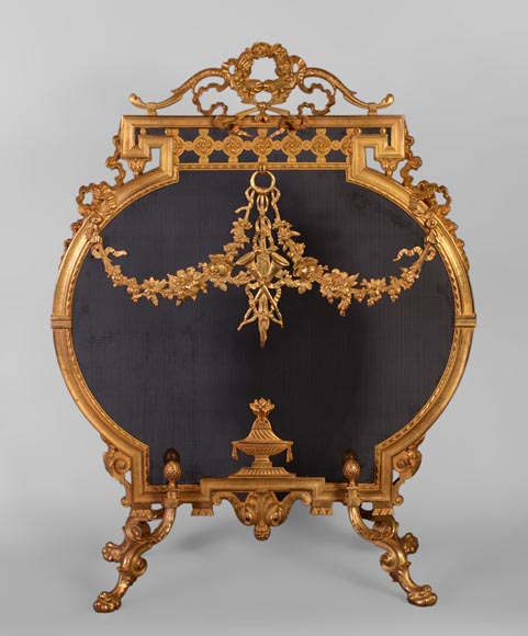 Antique Napoleon III style gilt bronze firescreen with garlands of flowers and firepot-0