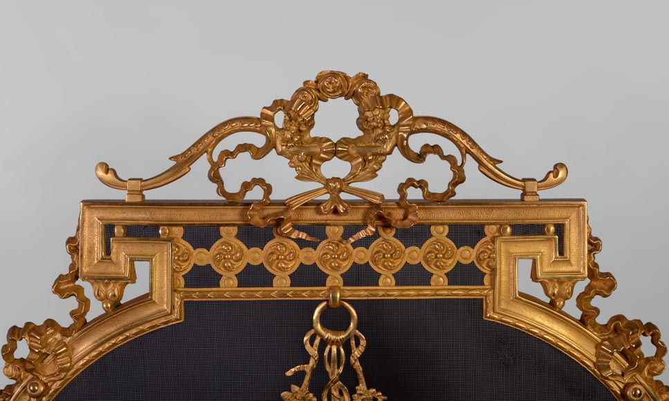 Antique Napoleon III style gilt bronze firescreen with garlands of flowers and firepot-1