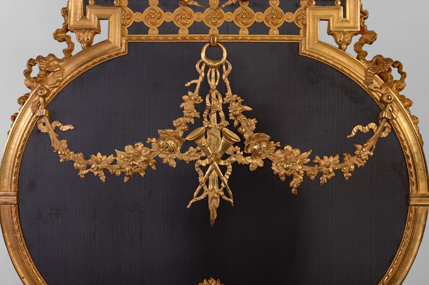 Antique Napoleon III style gilt bronze firescreen with garlands of flowers and firepot-2