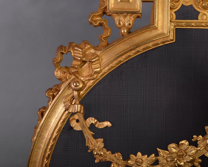 Antique Napoleon III style gilt bronze firescreen with garlands of flowers and firepot-3