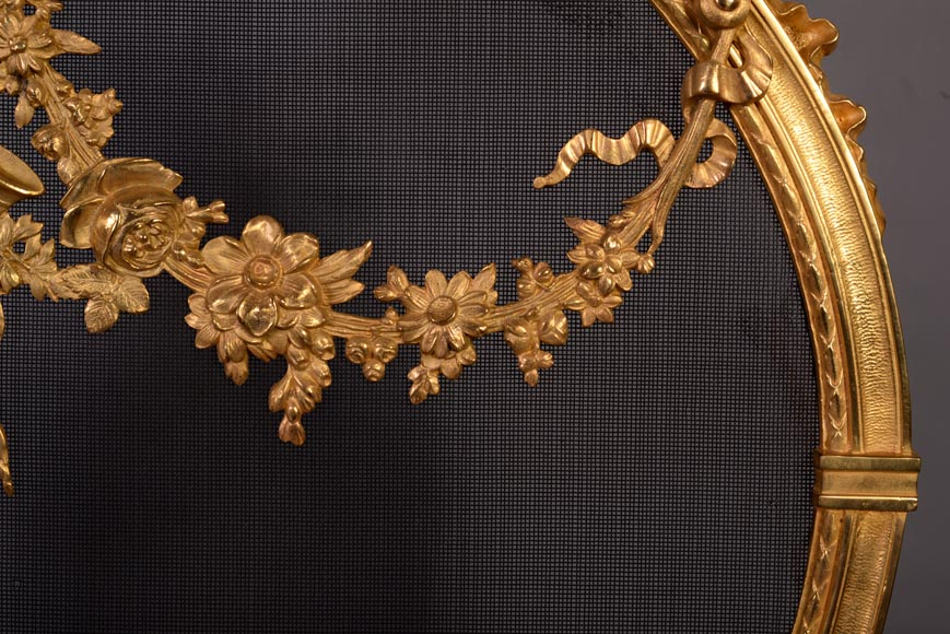 Antique Napoleon III style gilt bronze firescreen with garlands of flowers and firepot-4