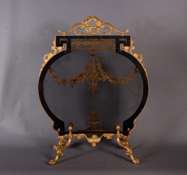Antique Napoleon III style gilt bronze firescreen with garlands of flowers and firepot-8