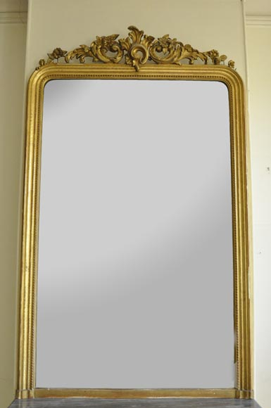 Antique Regence style overmantel mirror with foliages and flowers, gilt stucco-0