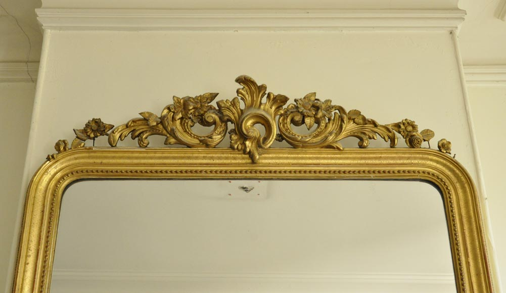 Antique Regence style overmantel mirror with foliages and flowers, gilt stucco-1