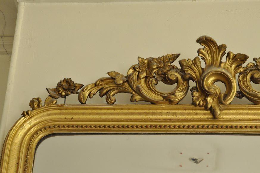 Antique Regence style overmantel mirror with foliages and flowers, gilt stucco-2