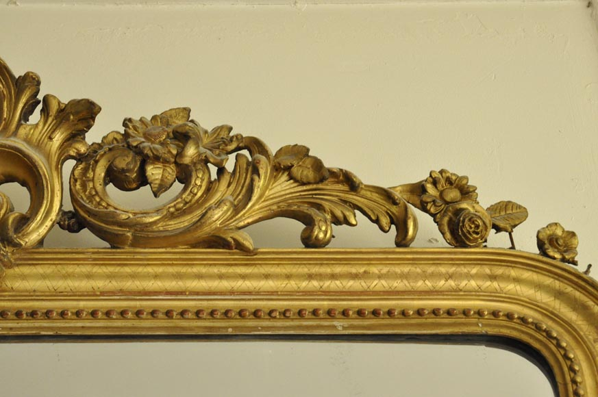 Antique Regence style overmantel mirror with foliages and flowers, gilt stucco-4