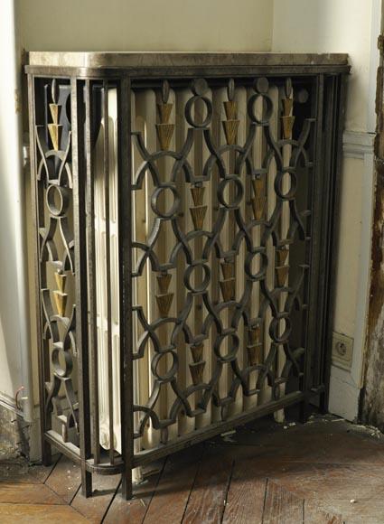Three Rare Art Deco Radiator Covers In Wrought Iron Circa 1930 Furnishings And Accessories