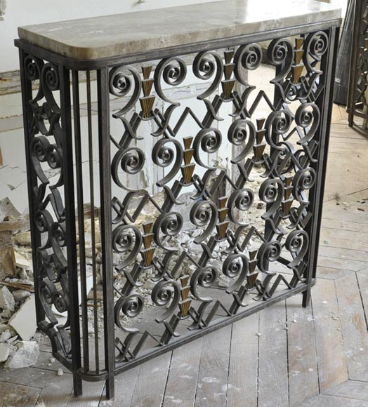 three rare art deco radiator covers in wrought iron circa. Black Bedroom Furniture Sets. Home Design Ideas