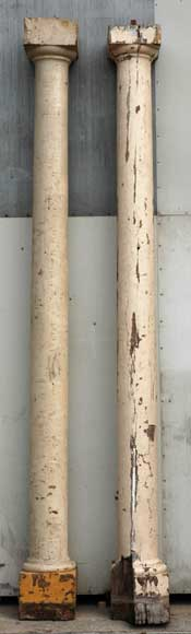 Pair of 18th century wood columns-0
