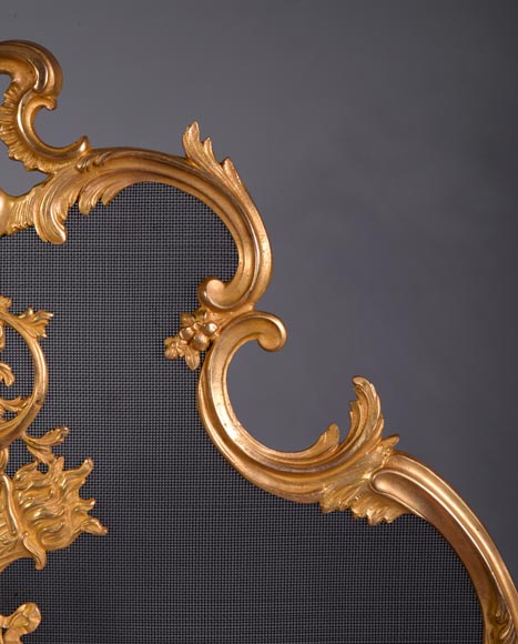Antique Louis XV style firescreen in gilt bronze, flaming torch decor-3