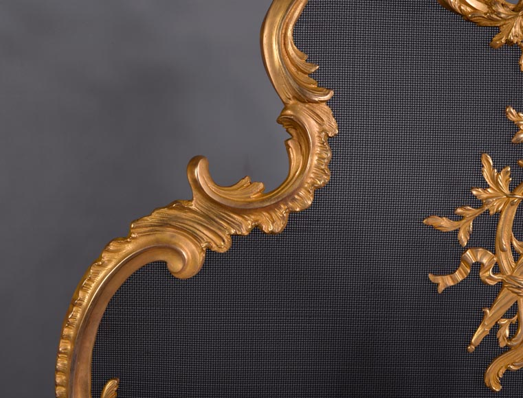 Antique Louis XV style firescreen in gilt bronze, flaming torch decor-4