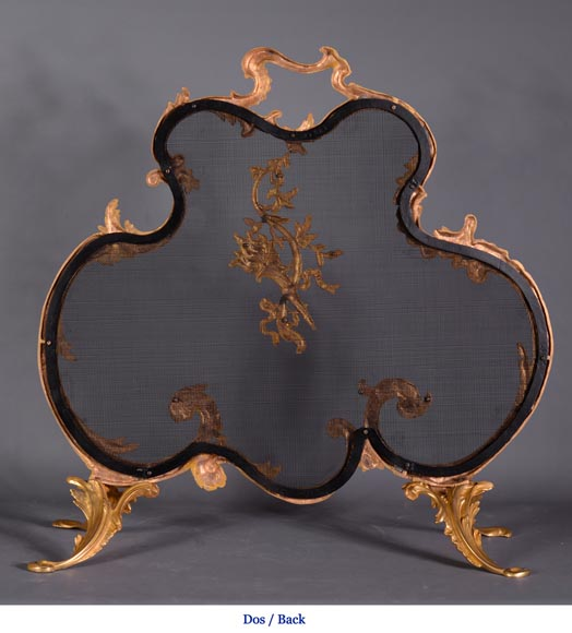 Antique Louis XV style firescreen in gilt bronze, flaming torch decor-8
