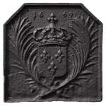 Antique cast iron fireback with the French coat of arms dated 1659