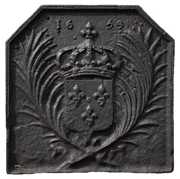 Antique cast iron fireback with the French coat of arms dated 1659-0