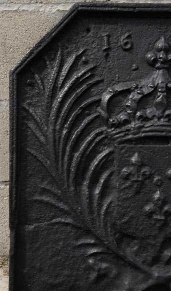 Antique cast iron fireback with the French coat of arms dated 1659-3