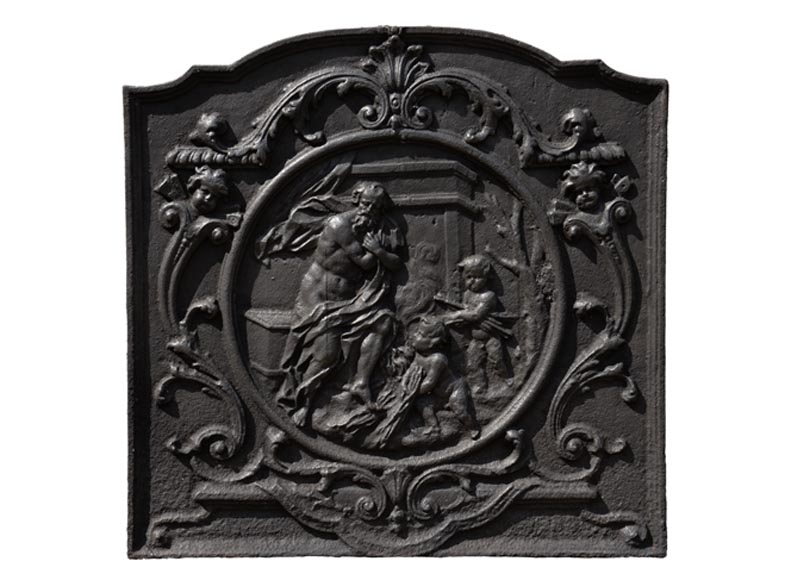 Winter allegory, antique 19th-century cast iron fireback - Reference 10797