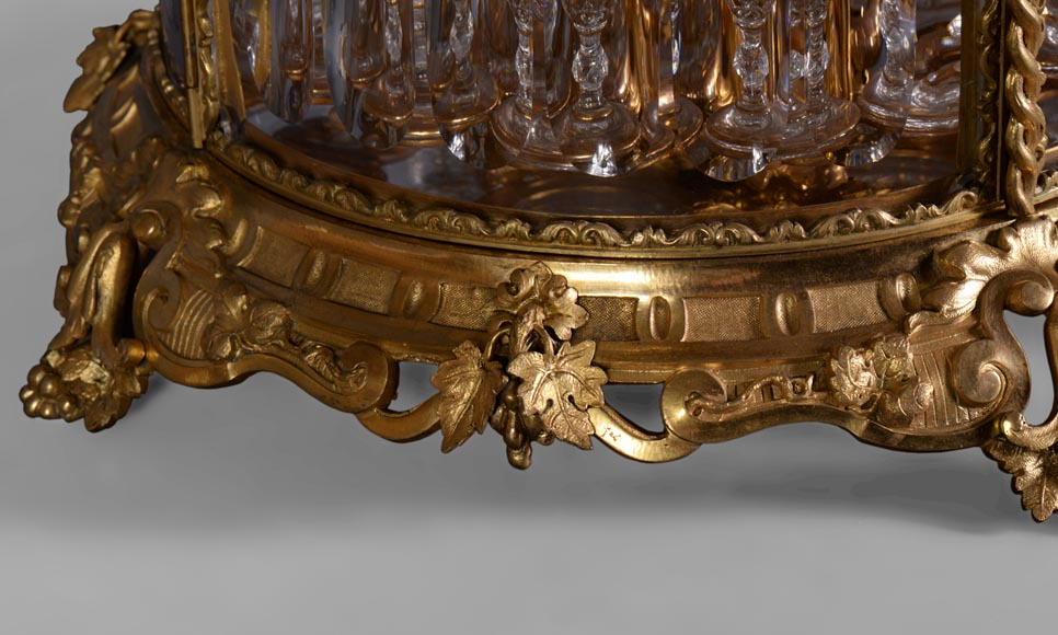 Cristallerie BACCARAT - Crystal and gilt bronze liquor cellar, 19th century-3
