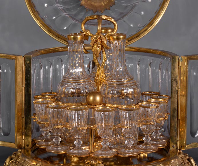 Cristallerie BACCARAT - Crystal and gilt bronze liquor cellar, 19th century-6