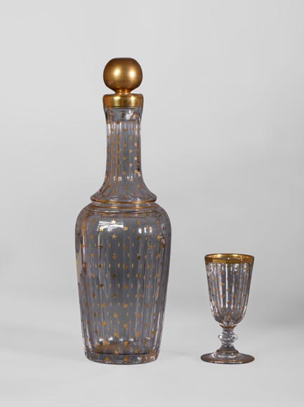 Cristallerie BACCARAT - Crystal and gilt bronze liquor cellar, 19th century-8