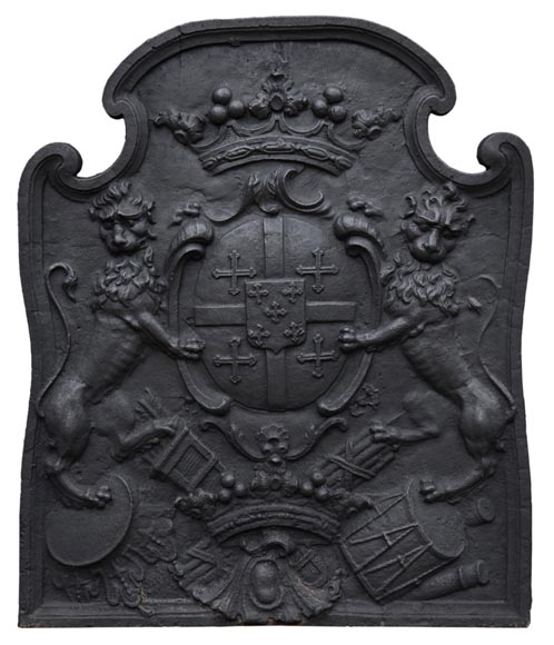 Beautiful antique cast iron fireback with the Cléron family coat of arms, 18th century-0