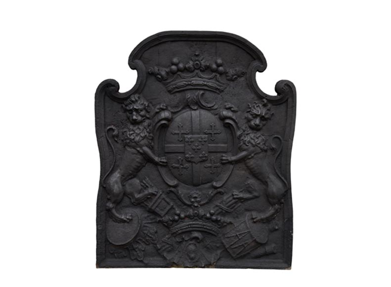 Beautiful antique cast iron fireback with the Cléron family coat of arms, 18th century - Reference 10810