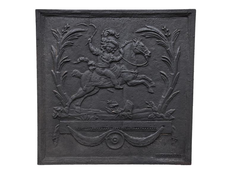 Cast iron fireplace with horseman from the Cousance Foundry - Reference 10813