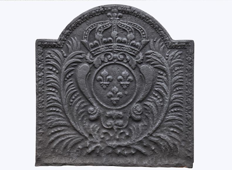 Small antique cast iron fireback with French coat of arms, 19th century - Reference 10815