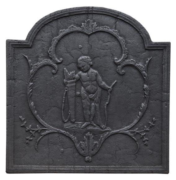Small antique cast iron fireback featuring Cupid-0