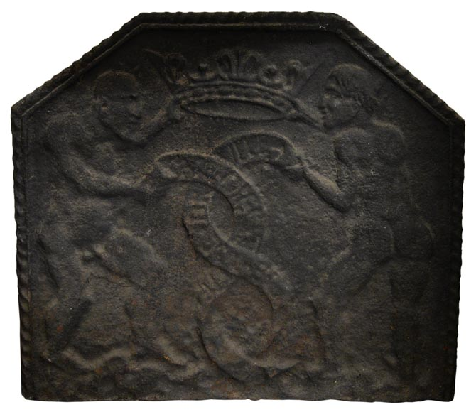 Rare antique 17th-century fireback with Satan-0
