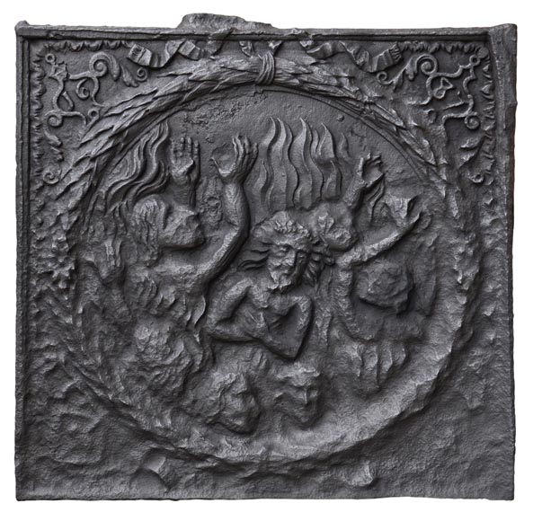 Cast iron fireback with the Damned burning in Hell  - Reference 10823