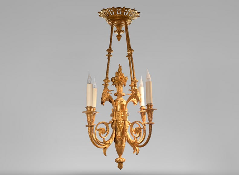 BARBEDIENNE Ferdinand - Very beautiful Louis XVI style chandelier in gilt bronze with heads of goats - Reference 10829